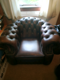 Chesterfield antique oxblood arm chair