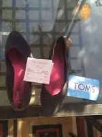 Toms Grey Flats Size 8