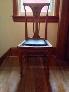 Antique Carved Oak Side Chair, Decorative Back, Leather Seat