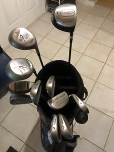 RH Wilson Golf Clubs and Fairway Bag and Pull Golf Cart