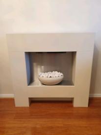 Freestanding cream electric fireplace