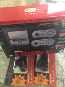 SNES CLASSIC + EXTENSION CABLES + BILL (never opened)
