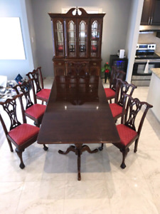 Antique Chippendale Table 8 Chairs And Hutch Queen Anne