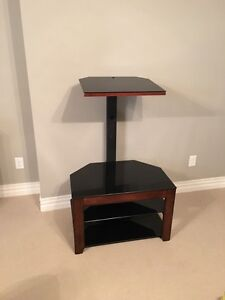 Tv stand wood and glass