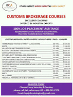 CUSTOMS CLEARANCE COURSES ON WEEKENDS 4 WEEKS COURSE