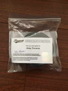 Signed Toronto Maple Leaf John Tavares hockey puck