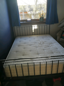 King size cast iron bed frame and mattress