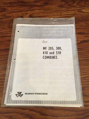 Vintage 1969 Massey-ferguson Mf 205 300 410 510 Combines Assem Instructions