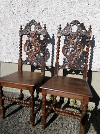 Pair of antique victorian carver chairs