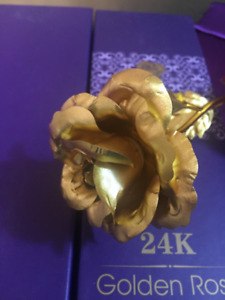 24K Foil Plated Rose Gold Rose Decoration Flower Valentine's Day