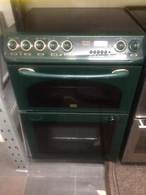 Green Creda 60cm ceramic hub electric cooker grill & fan oven good condition with guarantee