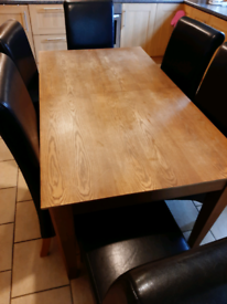 Solid dining table and 6 chsirs