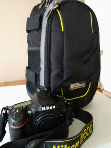 Nikon D600  (body only) plus Camera buckpack for sale