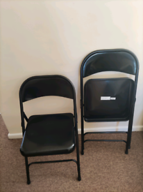 Black metallic folding chairs x6