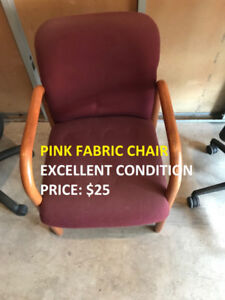 Pink Fabric Chair in Excellent Condition! Call us today!