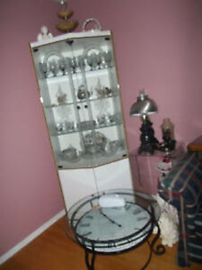 White and Glass Curio Cabinet