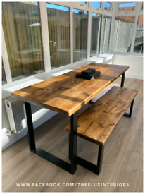 Handmade rustic industrial style dining tables and benches reclaimed