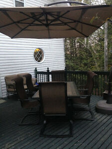 Complete Patio Set For Sale (Table/Chairs/Umbrella/Swing Seats)