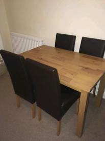 Oak wood dining table