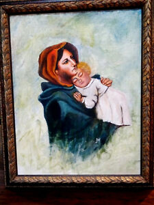 signed Madonna of the Streets MOTHER & CHILD oil Catholic RELIGI