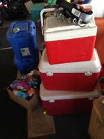 3 Coolers, 1 Thermos, 2 Coleman
