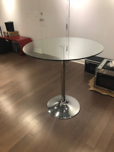 GORGEOUS CHROME AND GLASS COUNTER HEIGHT DINING TABLE