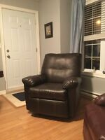 Rocker recliner bonded leather chair