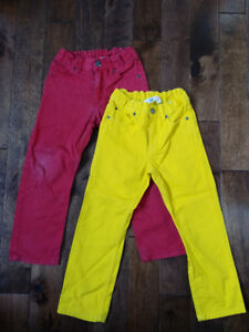 2 PAIRS: Boys H&M Cotton Denim Pants in Red & Yellow Sz 5-6 Yrs