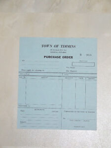 Vintage Purchase Order Form for Town of Timmins