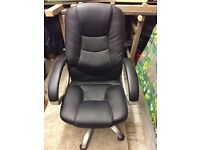 Faux black leather swivel office chair