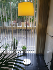 Floor lamp with creame shade and chrome stand