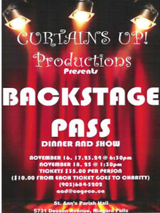 """The Curtains Up Dinner Theatre Group Presents """"Backstage Pass"""""""