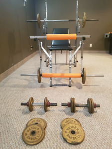 Cast Iron Weights, Bench and Bars for sale