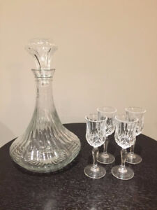 4 Crystal Port Wine glasses and a Decanter for only $10 for all!