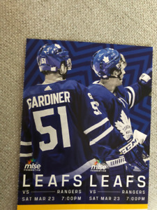 TONIGHT - GOLD Leafs vs. Rangers tickets s. 109/Row21. $700 pair