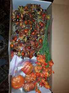 Large box of fall/ harvest/Halloween decorations.