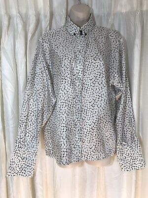 RODIER VTG B&W Print Long Sleeve Silky Button Up Blouse French Cuff Size 42 US-L