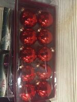 Box of 10 Red Glass Ornaments