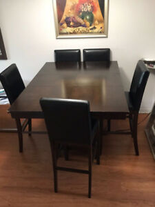 4 Seater High Dining Set - Dark Brown/ Black Leather