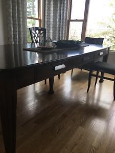 table salle à manger-ancienne table de réfectoire