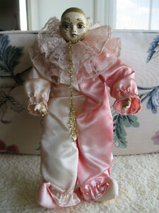 BEAUTIFUL LITTLE VINTAGE CLOWN Dressed in SATIN & LACE..['70's]