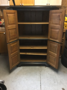 Nitty Gritty Reproductions stained pine corner cupboard