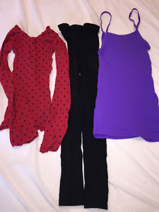 Dance warm-up tops and jazz footless tights