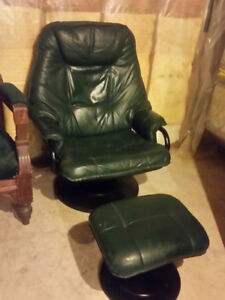 Green Leather Recliner with matching Foot Stool