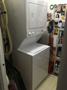 """White stackable washer & dryer 72""""H x 27""""W x 26""""D"""