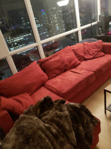 Red Suede Corner Couch