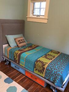Modern and versatile twin storage bed