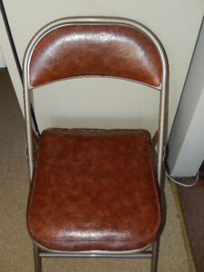 Vintage metal padded fold up chair