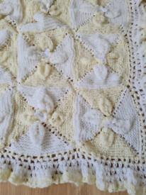 Lemon and white handmade pram blanket new