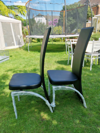 Two new Black Faux Leather and Chrome Dining Chairs